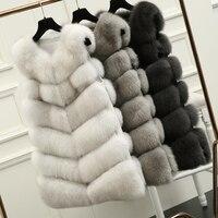 70 см натуральный Лисий мех жилет Новый 2016 зима длинный толстый женский меховой жилет куртка карманы натуральный мех жилет пуховые пальто дл