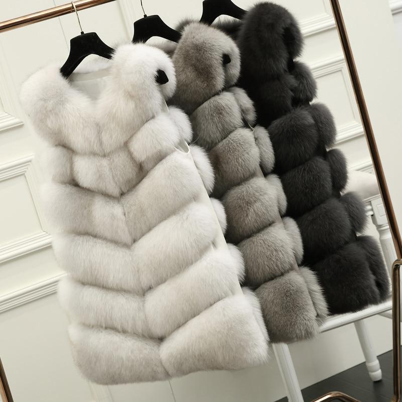 70 CM Naturale Reale Fox Fur Vest Nuovo 2016 Inverno Lungo Spessa Donne Giacca Gilet di pelliccia Tasche Reale Gilet di Pelliccia Giù Ricopre Per Le Donne 10436
