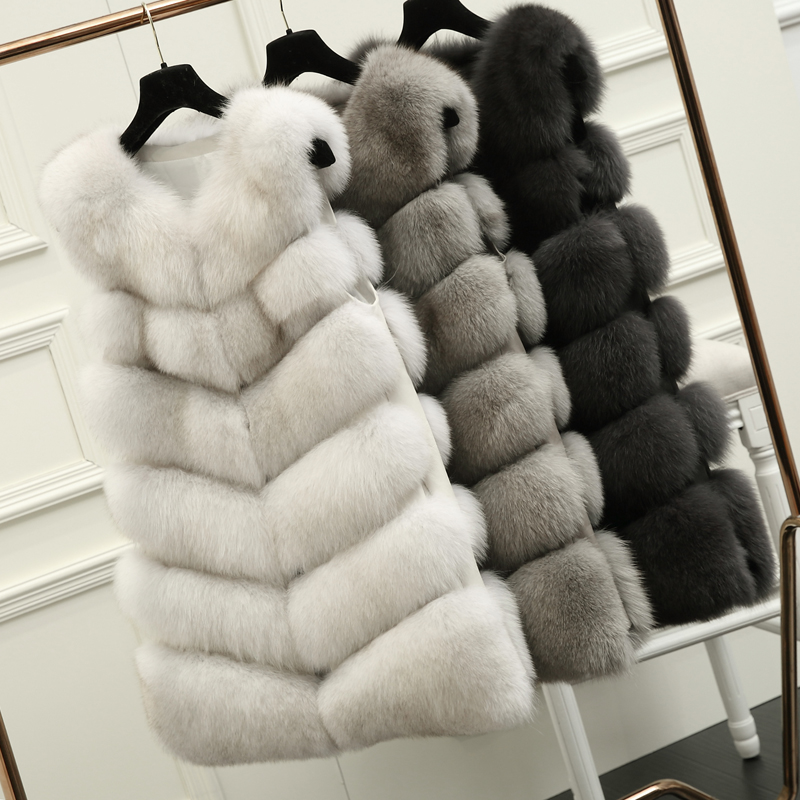 70CM Natural Real Fox Fur Vest New 2016 Ձմեռային երկար խիտ կանայք Fur Vest Jacket Pocket