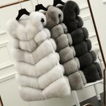 70CM Natural Real Fox Fur Vest New 2016 Winter Long Thick Women Fur Vest Jacket Pockets Real Fur Vest Down Coats For Women 10436