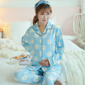 Cotton Materinty Nursing Pajamas Long Sleeve Pajamas Set Maternity Sleepwear for Pregnant Women BreastFeeding Nightgown B362
