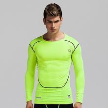 Мужчины сжатия рубашка базовый слой кожи Фитнес Excercise рубашки сжатия колготки трикотажные изделия