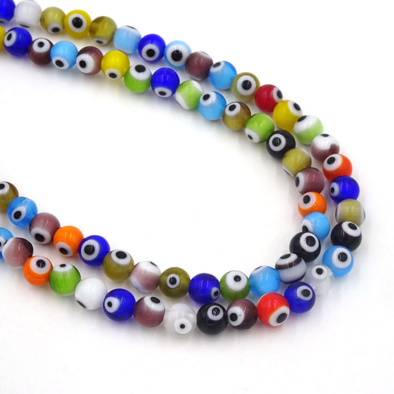 126Pcs 6mm Cute Glass Beads Turkish Evil Eye Seed Beads Jewelry Supplies For Jewelry Making Round & Flat Shape For Selection