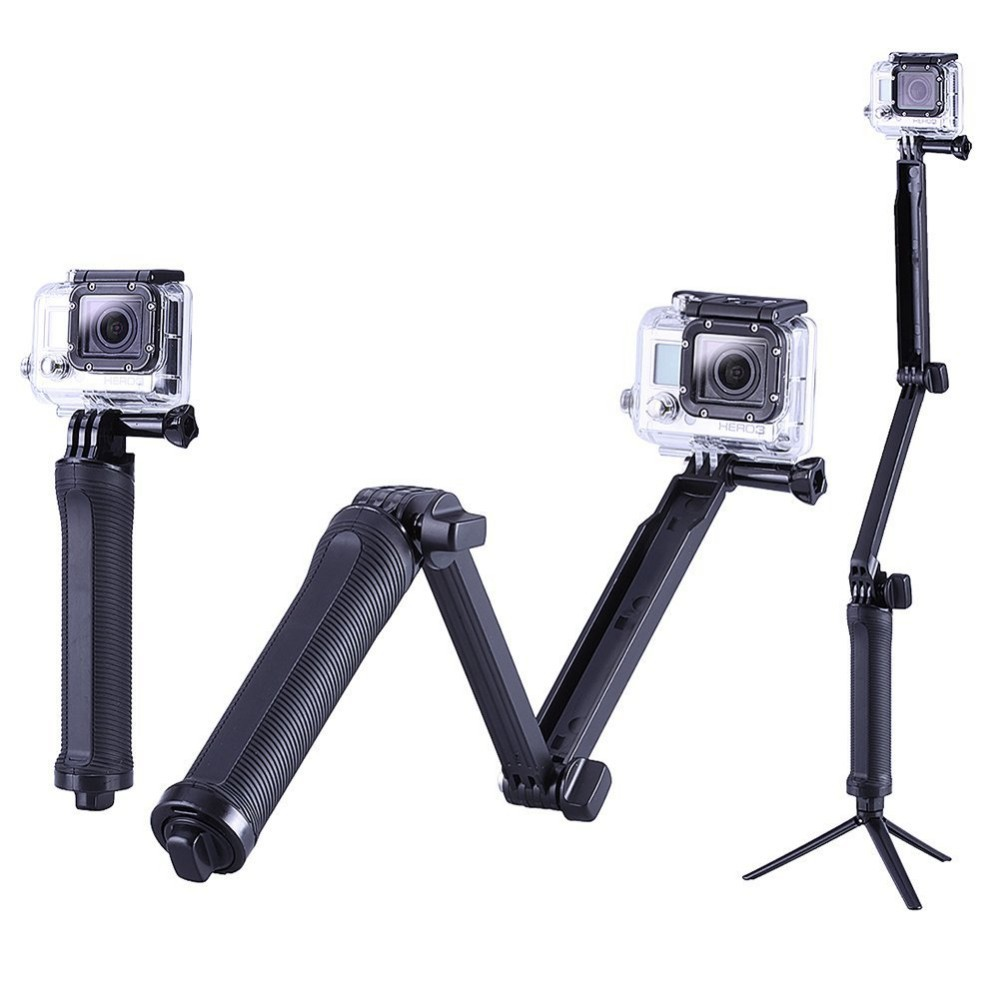 Collapsible three way Monopod Selfie stick Mount Camera Grip Extension Arm Tripod Stand for Gopro Hero