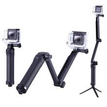Складной Трехходовой монопод selfie stick крепление Камера сцепление раздвижного кронштейна и штатив Стенд для GoPro Hero 4 3 3 + SJ5000