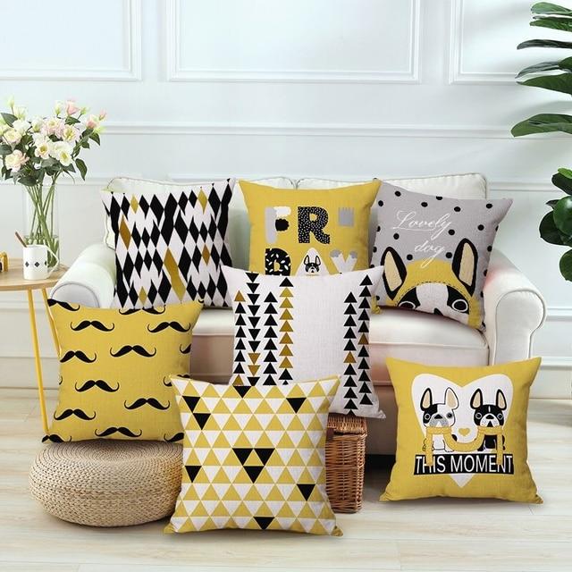 Drop Ship Yellow Pillow Dog Print Cushion French Bulldog Throw Christmas Gift Pet Home Decorative Pillows