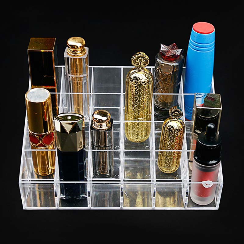 Makeup Storage Transparent  Storage Box Desktop Display Rack Eyebrow Pen Lipstick Cosmetic Rack Storage Box Large 24 Lattice