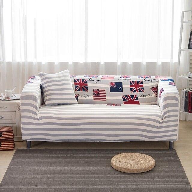 Graue Streifen Couch Sofa Abdeckungen Für Wohnzimmer Einzigen Doppel Drei  Vier Sitz Sofa Hussen Universal