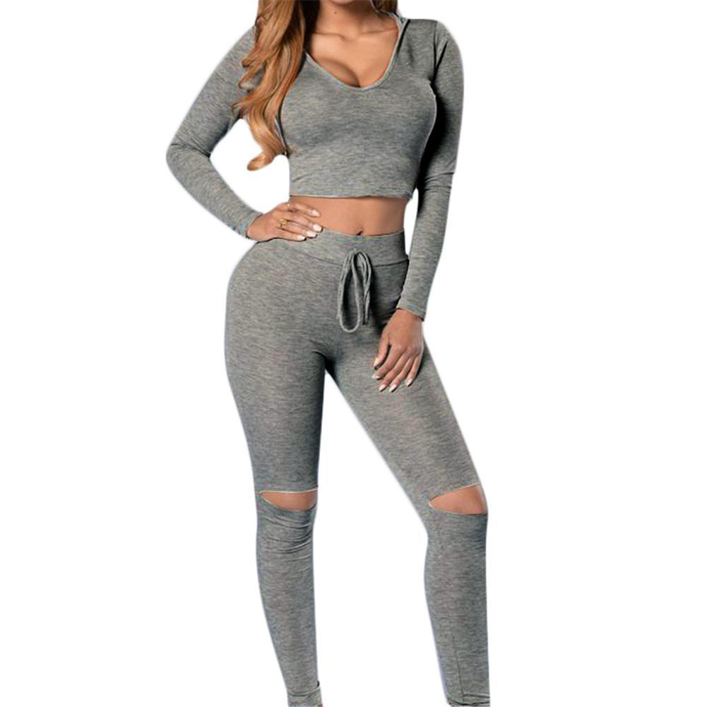 <font><b>2018</b></font> <font><b>Sexy</b></font> Two Piece <font><b>Sport</b></font> Suit Women <font><b>Yoga</b></font> Set Long Sleeve Crop Top and Leggings <font><b>Sexy</b></font> <font><b>Yoga</b></font> Wear <font><b>Fitness</b></font> Track Suit Sportswear image