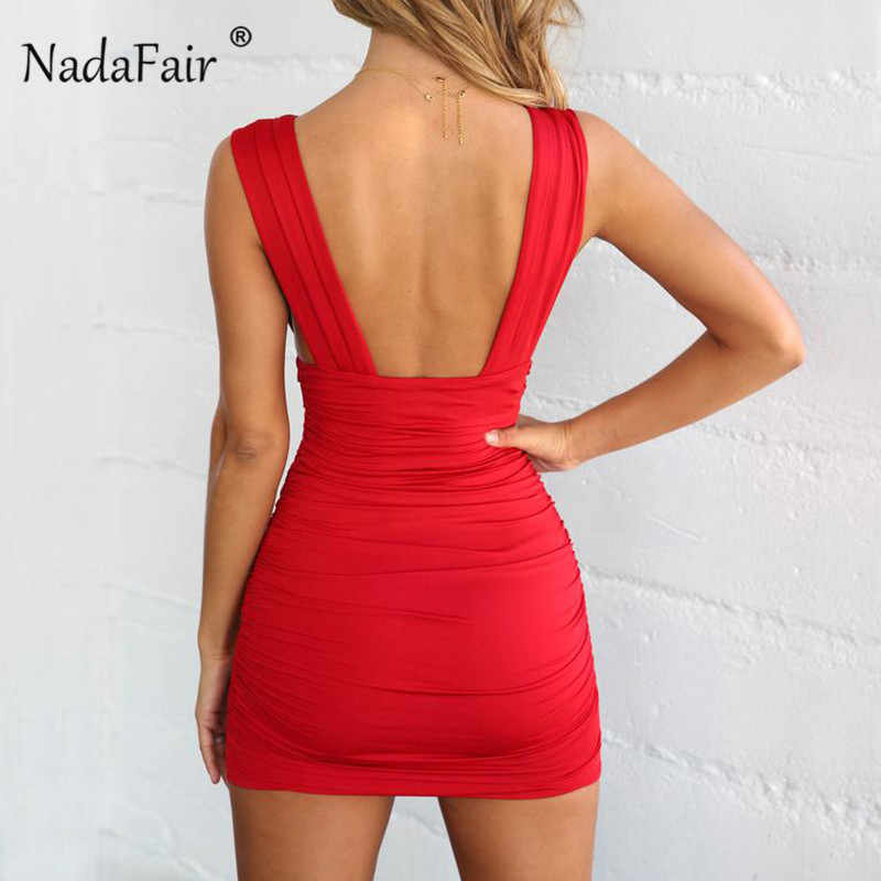 912f41cbca7 ... Nadafair bandage dress women deep v neck sexy club party bodycon dress  2019 backless ruched wrap ...