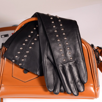 40cm-50cm Womens Ladies Real leather Rock Rivet Overlength Punk Party Evening long gloves