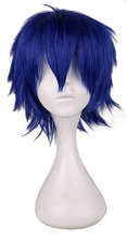 QQXCAIW Men Short Costume Cosplay Wig Boys Dark Blue 30 Cm Heat Resistant Synthetic Hair Full Wigs