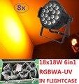 8 xLot Led Par Фары 18x18 W 6in1 RGBWA-UV Par Can Led Этап Световой эффект Луча Мыть Строб DJ DMX Дискотека Оборудование в Кейсе