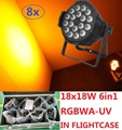 8xLot Led Par Lights 18x18W 6in1 RGBWA-UV Par Can Led Stage Effect Light Beam Wash Strobe DJ DMX Disco Equipment in Flightcase