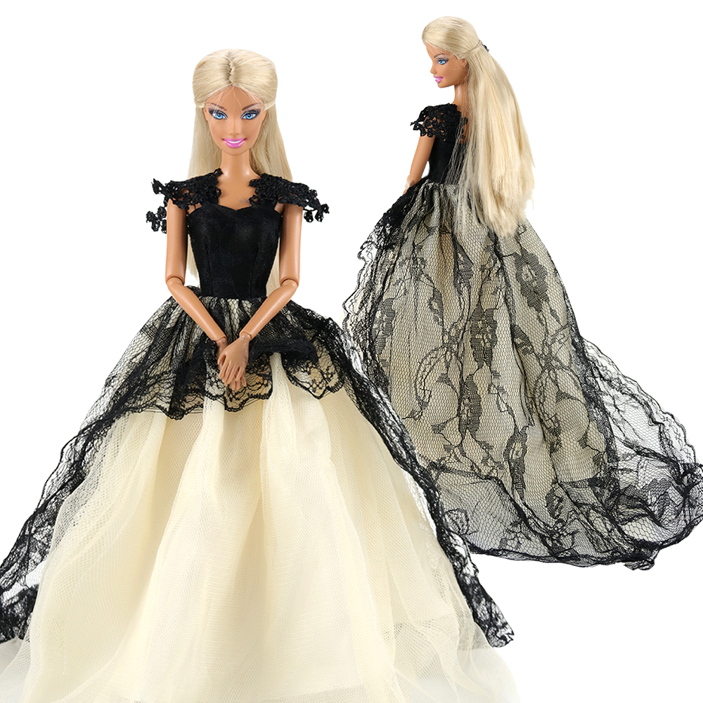 Fashion Handmade Black White Dolls Accessories Evening Dress Party Wedding Our Generation Doll Clothes For Barbie Game Present
