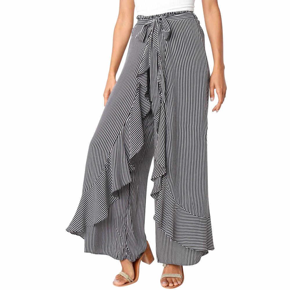 Dormeur #401 2019 nouvelle mode femmes dames été rayé large jambe taille haute pantalon décontracté Long pantalon quotidien porter livraison gratuite
