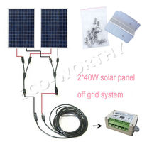 80W COMPLETE KIT 2pcs 40W Poly Solar Panel For Boat Cabin Home Battery Charge Solar Generators