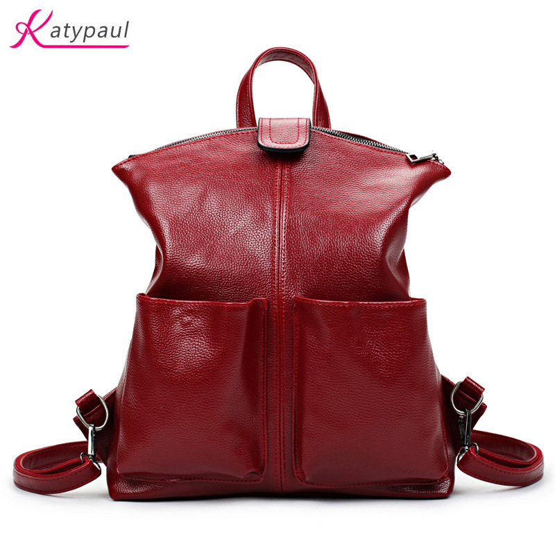 Women Backpack High Quality Mochila PU Leather School Bags For Teenagers Girls Top-handle Backpacks Herald Fashion 2017 Wine Red