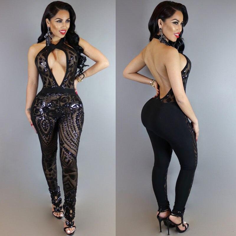 e6024e4ecc200 MUXU BLACK sequin jumpsuit combinaison femme summer jumpsuits romper women  rompers womens jumpsuit bodies woman sexy
