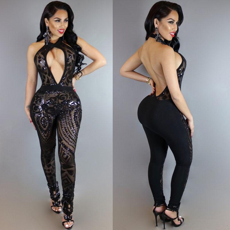 MUXU BLACK sequin jumpsuit combinaison femme summer jumpsuits romper women rompers womens jumpsuit bodies woman sexy bodysuit ...