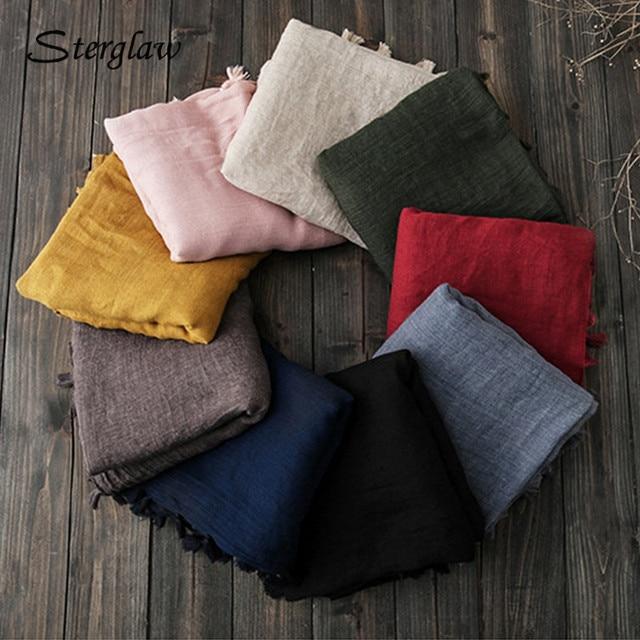 2017 new spring women beach embroidered stoles, shawls, scarves cotton ladies muslim hijab sjaal linnen handkerchief female D205