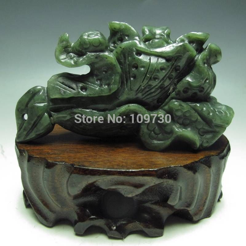 Jewelr 003589 100% Natural Hetian Jade Hand-carved Statues --- Chinese Cabbage