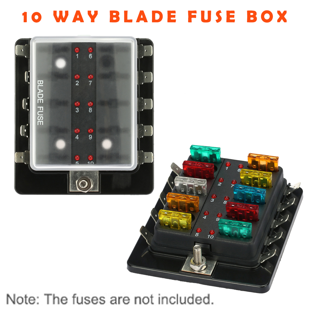 10 way blade fuse box holder block set with led warning light kit for car boat [ 1000 x 1000 Pixel ]
