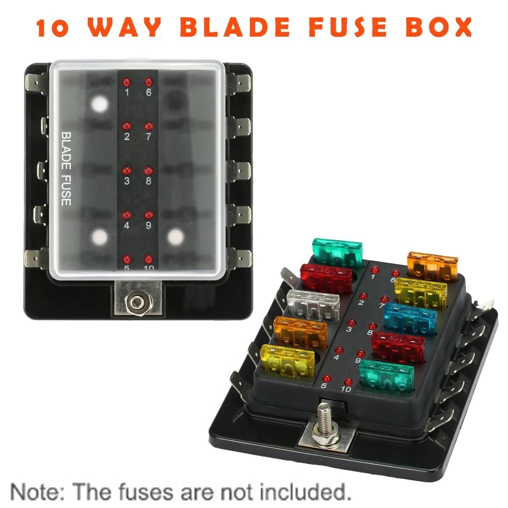 10 Way Blade Fuse Box Holder Block Set with LED Warning Light Kit for Car Boat  Marine Trike 12V 24V Circuit Breakers safety lock|fuse box holder|blade fuse  box holderfuse box - AliExpressAliExpress