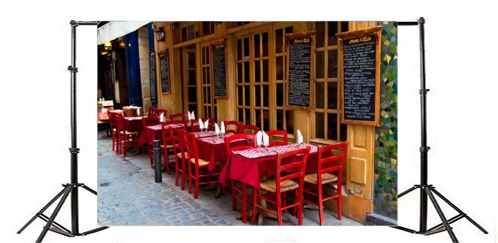 Laeacco Ресторан внешней стол, стулья сцены фотография Фоны индивидуальные фотографические фонов для фото стадио