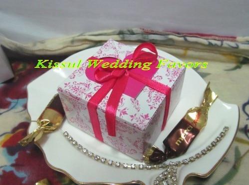100 Pieces Lot Top Elegant Wedding Gift Box Of Fuchsia Heart Flap Favor