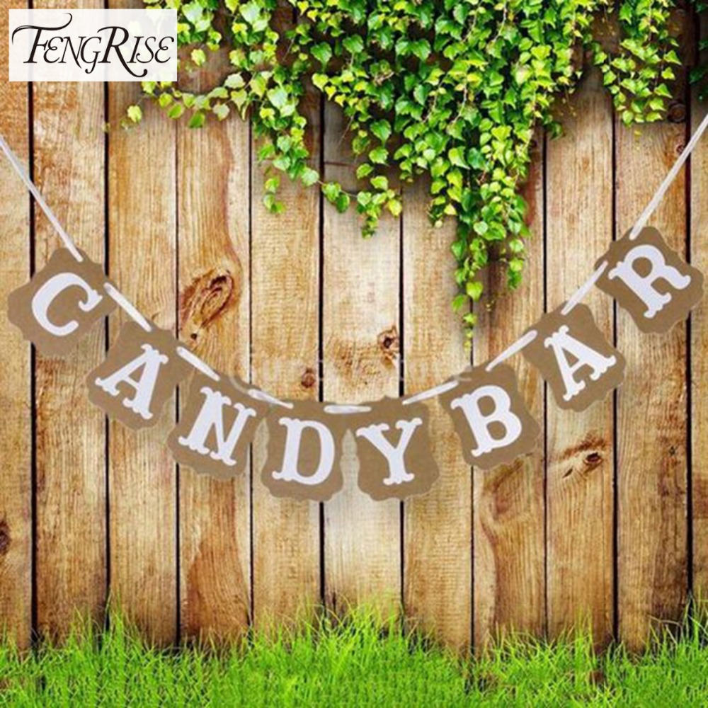 FENGRISE Candy Bar Kraft Paper Cardboard Bunting Banner Garland Vintage Wedding Decor Sign Baby Shower Birthday Party Buffet
