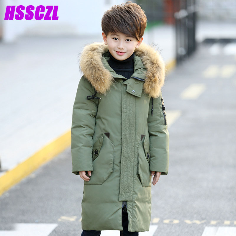 HSSCZL winter boys duck down jacket thicken Children jackets boy long thicken overcoat outerwear big fur collar hooded parkas a15 girls down jacket 2017 new cold winter thick fur hooded long parkas big girl down jakcet coat teens outerwear overcoat 12 14