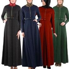 Muslim Abaya Ισλαμική ρούχα για τις γυναίκες Μουσουλμανική φόρεμα Μακρύ μανίκι Maxi Φόρεμα Γυναικεία φερμουάρ Bodycone Μουσουλμανική φόρεμα Maxi με ζώνη