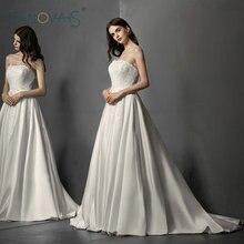 Simple Satin Wedding Dress Lace Elegant Wedding Gowns 2019 Vintage vestidos de noiva gelinlik robe de mariée Plus Size