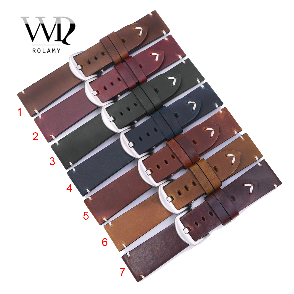 Rolamy 22 24mm Top Real Leather Replacement Watch Band Strap Belt with Screw Buckle For Panerai Tudor IWC Fossil Tag Heuer