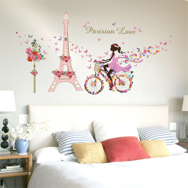 Romantic Paris Wall Stickers For Kids Rooms Eiffel Tower Flower Butterfly  Fairy Girl Riding Wall Decals Art Home Decor Mural In Wall Stickers From  Home ...