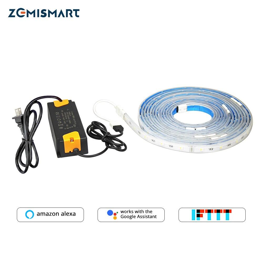 Bande de lumière LED Zemismart RGBW fonctionne avec Alexa Echo Google Home IFTTT Wifi prise en charge jusqu'à 6 m minuterie étanche contrôle vocal