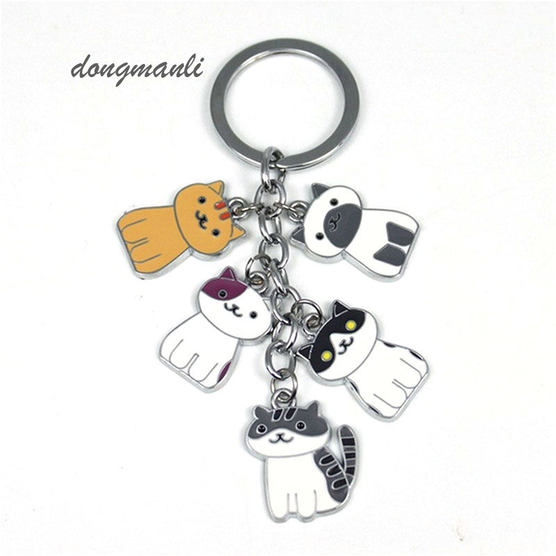 W5376 Fashion New Game Neko Atsume Metal Pendant Keychain Charm Cute cat keychain car ...