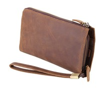 Maxdo High Quality Vintage Brown Genuine Leather Crazy Horse Leather Men Clutch Wallets Purse Cowhide Card Holder #M8048