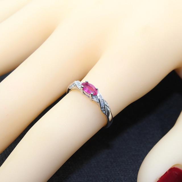 Elegant silver ruby for girl 3 mm * 6 mm natural Myanmar ruby ring 925 sterling silver ruby ring romantic gift for girlfriend