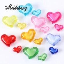 цены на Two Size Random Color Heart Shape Acrylic Transparent Charm Internal Bead Spacer Beads  For Women Bracelet Bangle Jewelry Making в интернет-магазинах