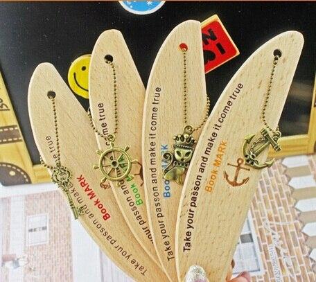 1pcs/lot  Vintage Navigation Pendant Series Classical Wooden Bookmark DIY Multifunction Knife Design Bookmark