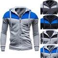 Fashion Men Long Sleeve Winter Coat Color Block Casual Hooded Sweatshirt Outwear