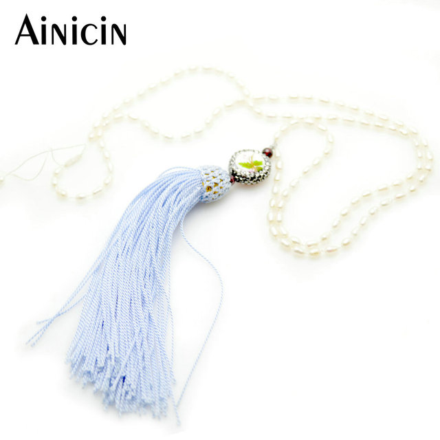 Handmade 3x6mm Natural Freshwater Pearl Bead Chain Blue Tassel With Ceramic Coin Decoration Adjustable Necklace Women Jewelry