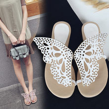 YMECHIC Womens Butterfly Slippers Summer Flats Fretwork Flip Flops Women  Plus Size Slides Black White Pink Lovely Lady Slippers 9e3ea54aa83a