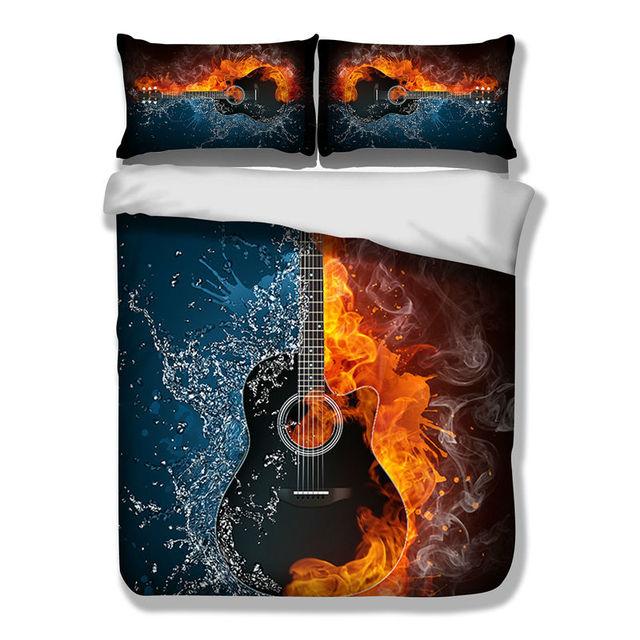 High Quality 3D Guitar Music Bedding Set HD Beddings Duvet Cover Set Bedlinen Twin Full  Queen King Size