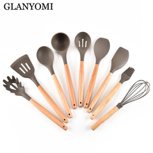 Premium Silicone Cooking Utensil Set 9 Piece Home Kitchen Accessories Wood Cooking Utensils Tools Set for