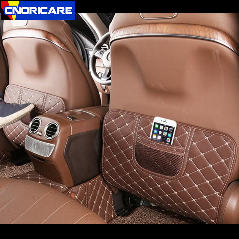 Car Leather Seat Backrest Anti Kick Pad Decoration For Mercedes Benz E Class W213 E300 E200 E320 2016-17 Anti Dirty Mat