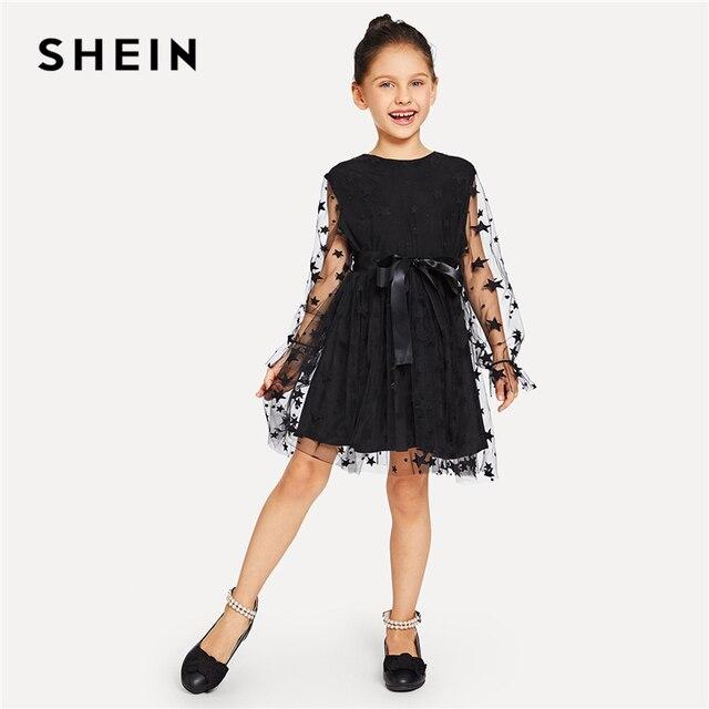 Шеин черный геометрический принт сетчатая вставка бант расклешенное Повседневное платье Одежда для девочек 2019 Весна модное платье с длинным рукавом на молнии для девочек
