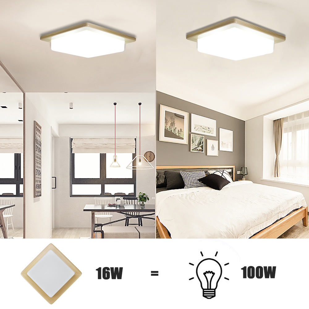 W Wood Square Energy Efficient LED Ceiling Light Lm K - Energy efficient kitchen ceiling lighting